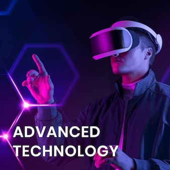 Fortschrittliche technologie-banner-vorlage mit mann mit vr-hintergrund