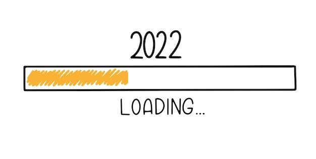 Fortschrittsbalken im doodle-skizzen-stil. 2022 symbolbild wird geladen. handgezeichnete vektor-illustration.