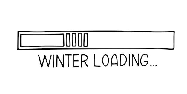 Fortschrittsbalken im doodle-skizzen-stil. winter laden symbolbild. handgezeichnete vektor-illustration.
