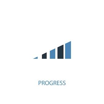 Fortschrittskonzept 2 farbiges symbol. einfache blaue elementillustration. fortschritt-konzept-symbol-design. kann für web- und mobile ui/ux verwendet werden