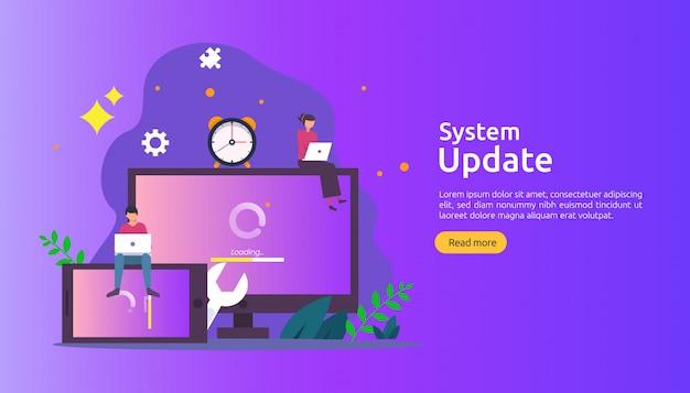 Fortschrittskonzept der aktualisierung des betriebssystems. daten synchronisieren prozess und installationsprogramm.