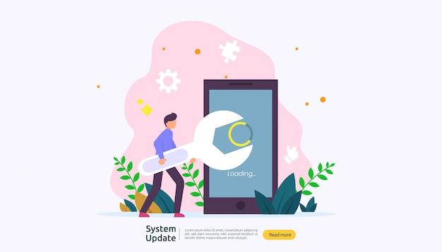 Fortschrittskonzept der aktualisierung des betriebssystems.