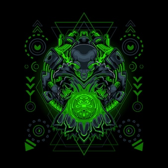 Fortune teller alien robotic style heilige geometrie