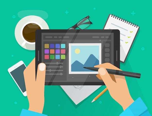 Foto- oder grafikeditor auf flacher karikaturillustration der tablette