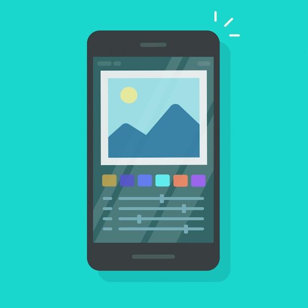 Foto- oder grafikeditor auf handy oder mobiltelefon lokalisierte flache karikatur
