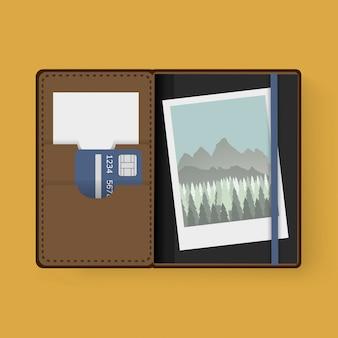 Foto und karte im wallet graphic illustrations-vektor