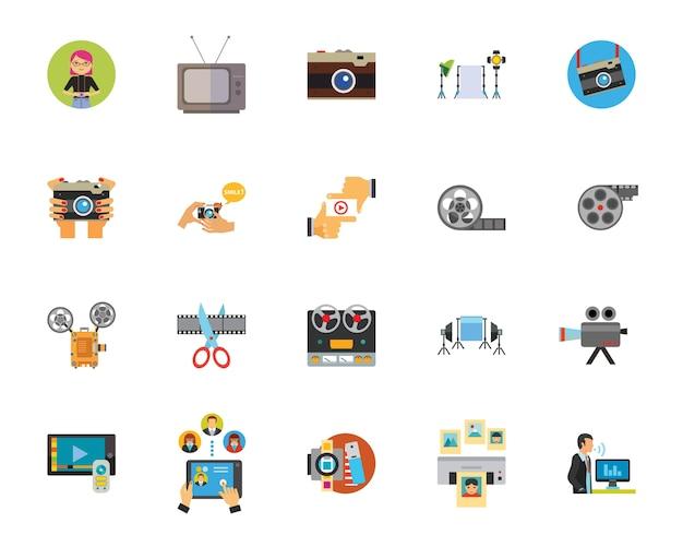 Foto und video industrie icon-set