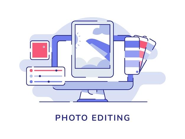 Fotobearbeitungskonzeptbild auf computerbildschirm mit flachem umrissstil