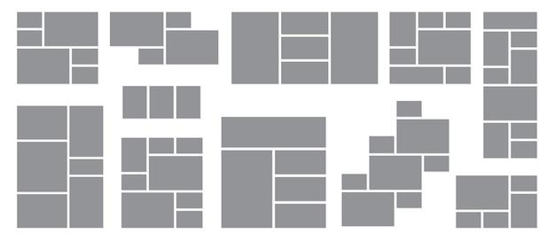 Fotocollage eingestellt. fliesenmontage-vorlage, kreatives wandmosaik-dekorationsmodell. rasteranzeige für bilderrahmen oder moodboard-muster. webseiten für geschäftsreisedesign-vektorillustration