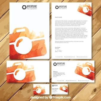 Fotograf aquarell visit card set