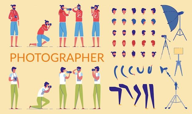 Fotograf character constructor kit oder diy set.