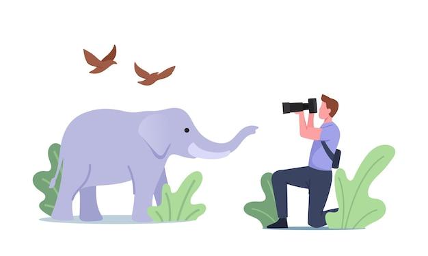 Fotograf-charakter schießen elefanten und vögel, die niederfrequente infraschallwellen mit einer frequenz unterhalb der unteren grenze des wissenschaftlichen konzepts der menschlichen hörbarkeit erzeugen. cartoon-menschen-vektor-illustration