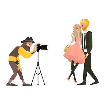 Fotograf, der ein hochzeitspaar schießt