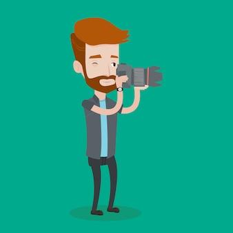 Fotograf, der fotoillustration nimmt.