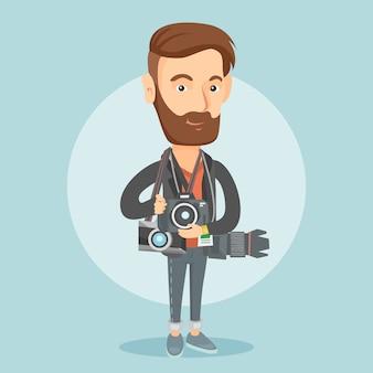 Fotograf, der fotovektorillustration nimmt.