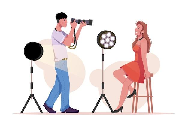 Fotograf, der vorbildliche beleuchtungsausrüstung fotografiert, lokalisierte flache karikaturmann und -frau