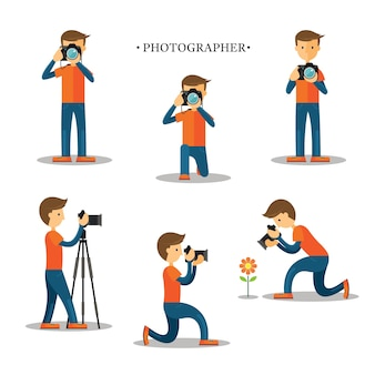 Fotograf, mann, der fotos mit kamera-set macht