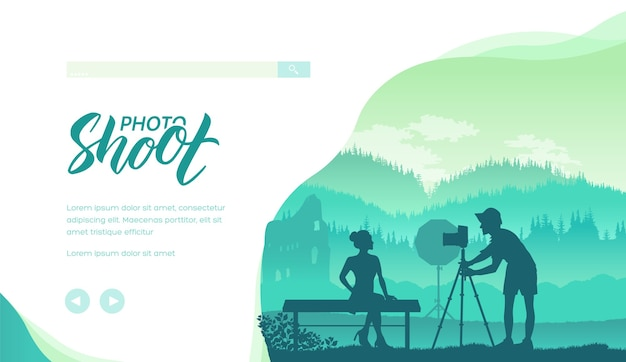 Fotograf mit professionellen kamera-silhouetten. fotografie auf natur minimalistische illustration