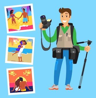 Fotograf mit stativ und fotobildern