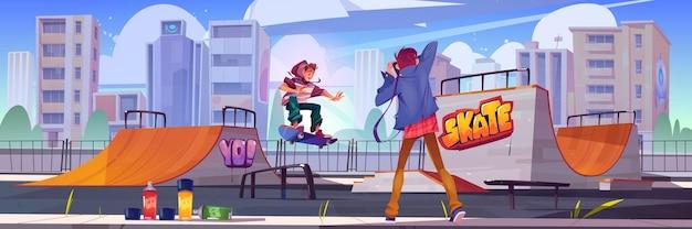 Fotograf schießen teenager am skatepark oder rollerdrome