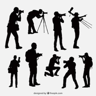 Fotograf silhouetten in verschiedenen positionen