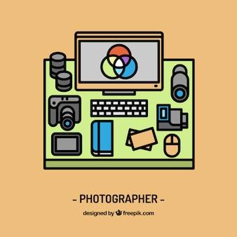 Fotograf und arbeitsplatzgestaltung