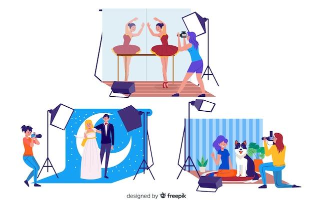 Fotografen arbeiten illustriert mit figuren
