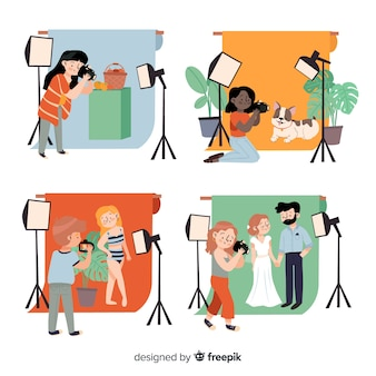 Fotografen arbeiten im studio