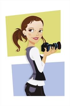 Fotografenfrau, die eine kamera hältvektorillustration