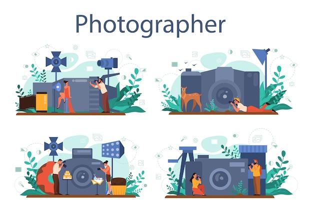 Fotografensatzsatz. professioneller fotograf mit kamera zum fotografieren. künstlerische berufs- und fotokurse.