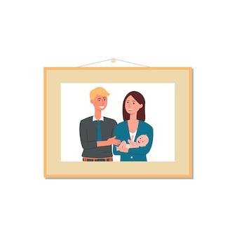 Fotografie des jungen paares, das an der wand im bilderrahmen, illustration auf weißem hintergrund hängt. mann und frau zeichentrickfigur auf familienporträt.