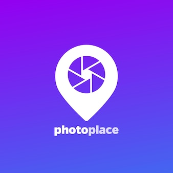 Fotografie-logo, blendensymbol und pin-marker