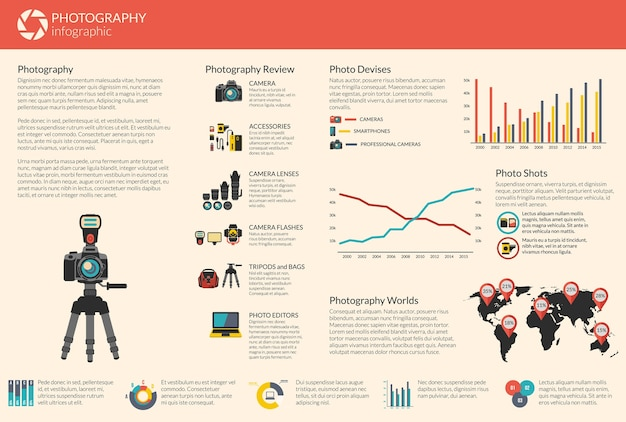Fotografie vektor infografik vorlage. stativ und objektiv, zubehör und blitz