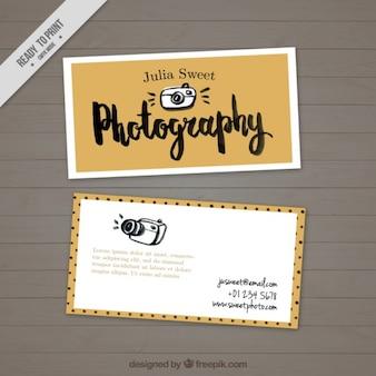 Fotografie visitenkarte, von hand gezeichnet und spaß