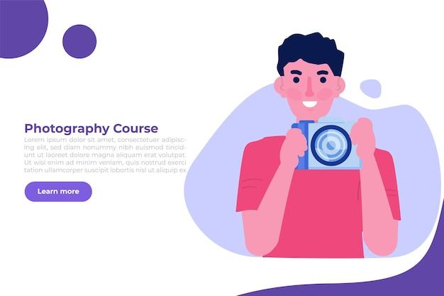 Fotografiekurse oder -klasse, tutorials, workshop-konzept. vektor-illustration