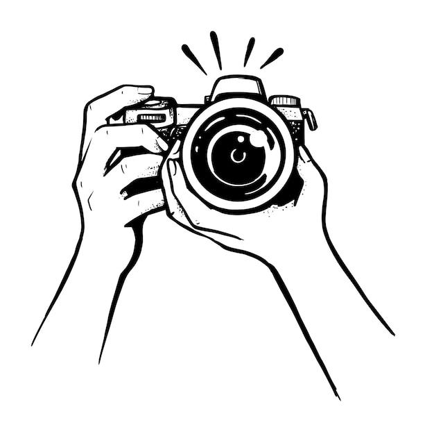 Fotografin mit kamera-skizzen-stil.