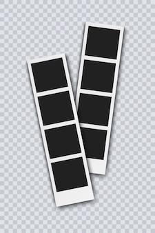 Fotokabinenbilder auf transparentem hintergrund isoliert. retro-fotorahmen mit schatten, realistische vektorillustration