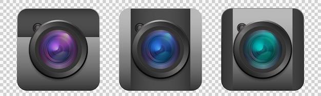 Fotokamera-icons set sammlung von realistischen 3d-kameras für videos oder fotos mit objektiv eps10