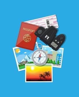 Fotokamera und fotos, reisekonzept
