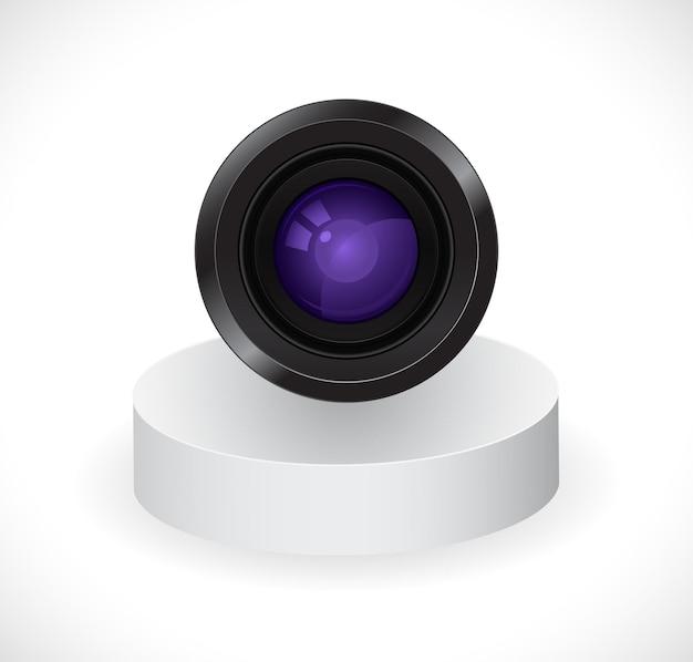 Fotokameraobjektiv auf stand 3d symbol