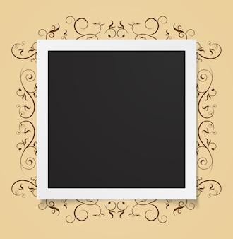 Fotokarte auf dem abstrakten hintergrund des blumenrahmens