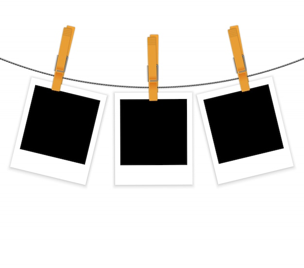 Fotorahmen auf seil mit wäscheklammervektor
