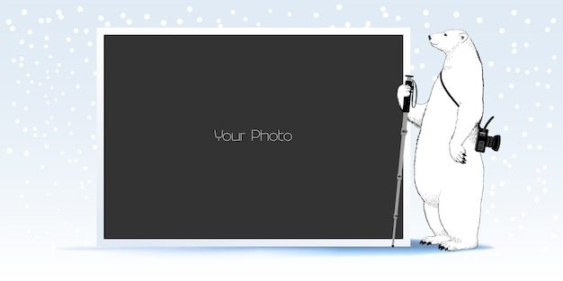 Fotorahmen-collage, sammelalbum für winter- oder weihnachtsillustration