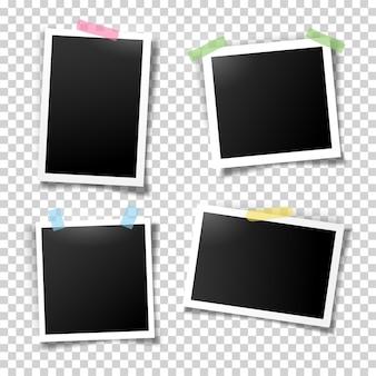 Fotorahmen, die mit klebebandvektorvorlagen befestigt sind, stellen illustration des realistischen leeren fotos ein