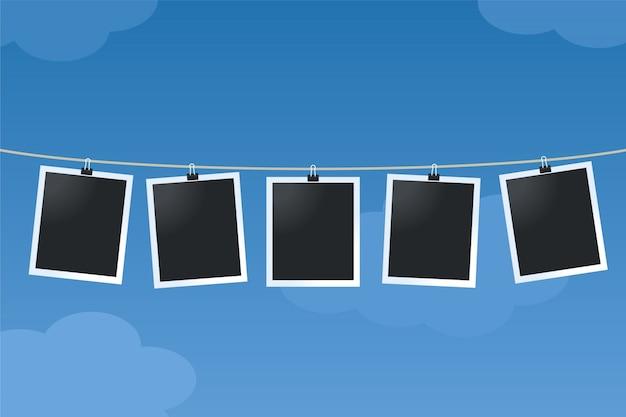 Fotorahmen hängen an einer schnur
