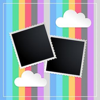 Fotorahmen im kinderscapbook-erinnerungsbuch
