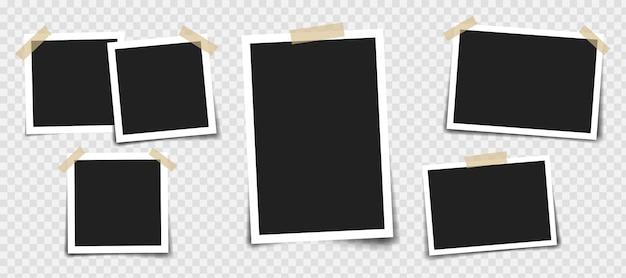 Fotorahmen mit klebeband in verschiedenen farben und büroklammer.