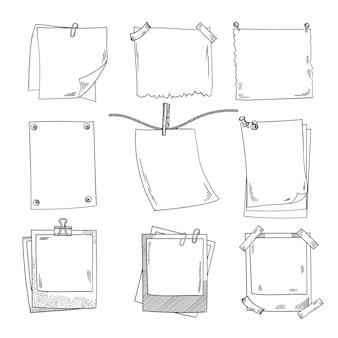 Fotorahmen und unterschiedliches leeres briefpapier. vektorsatz gekritzelbilder