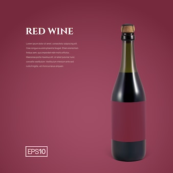 Fotorealistische flasche rotschaumwein auf burgunder