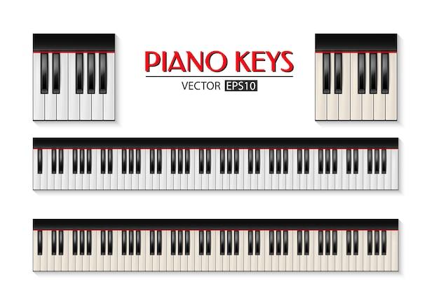 Fotorealistischer klaviertastaturikonsatz lokalisiert auf weißem hintergrund.